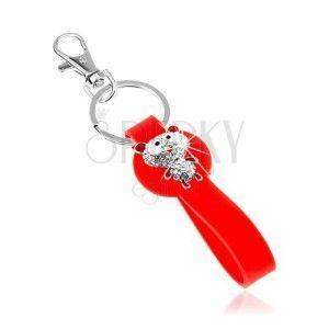 Breloczek do kluczy z silikonową zawieszką czerwonego koloru, cyrkoniowy niedźwiadek obraz