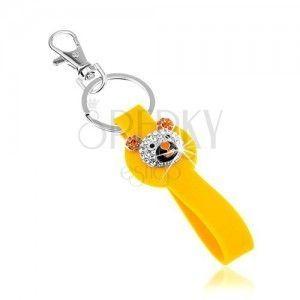 Breloczek do kluczy srebrnego koloru, żółta zawieszka z silikonu, lśniąca głowa niedźwiadka obraz