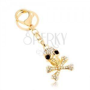 Zawieszka na klucze, złoty odcień, czaszka ze skrzyżowanymi kośćmi, cyrkonie obraz