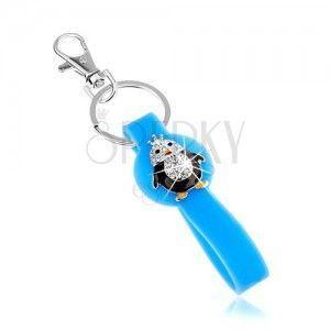 Breloczek, niebieska zawieszka z sylikonu, mały pingwinek, cyrkonie, kolorowa emalia obraz