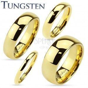 Tungsten obrączka złotego koloru, lśniąca i gładka powierzchnia, 2 mm obraz