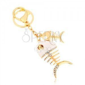 Zawieszka na klucze w złotym odcieniu, dwie błyszczące rybie ości, biała emalia, cyrkonie obraz