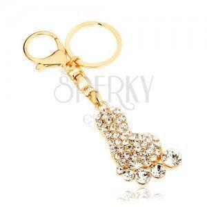 Zawieszka na klucze w złotym kolorze, błyszcząca stopa, przezroczyste cyrkonie obraz