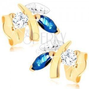 Złote kolczyki 375 - błyszcząca gałązka z liśćmi, niebieski szafir, przezroczysty cyrkonik obraz