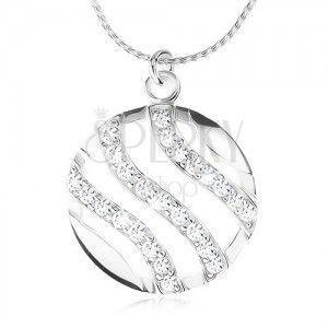 Srebrny naszyjnik 925, łańcuszek i okrągły wisiorek, fale ozdobione cyrkoniami obraz
