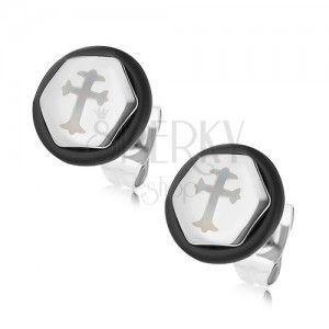 Stalowe kolczyki w kształcie sześciokąta, srebrny kolor, krzyż, czarna gumeczka obraz