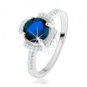 Zaręczynowy pierścionek, srebro 925, niebieski kwiatek, płatki z przezroczystych cyrkoników obraz