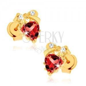 Kolczyki z żółtego złota 14K - czerwone serce z granatu, kokardka, przezroczyste cyrkonie obraz