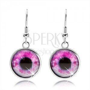 Okrągłe kolczyki, wypukłe szkło, oko w różowo-białym odcieniu, cabochon obraz
