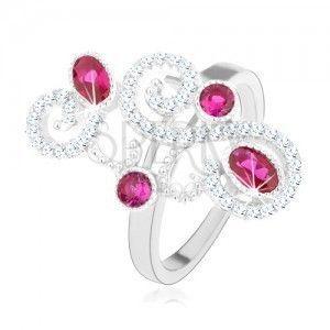 Pierścionek ze srebra 925, błyszczące ozdoby, różowe cyrkonie, wysoki połysk obraz