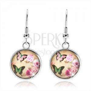 Okrągłe kolczyki w stylu cabochon, dwa kolorowe motyle, różowe kwiaty obraz
