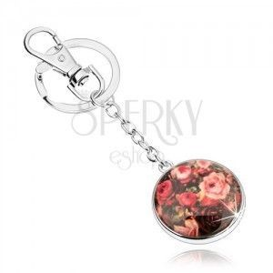 Zawieszka na klucze w stylu cabochon, wypukłe szkliwo, kolorowe róże obraz