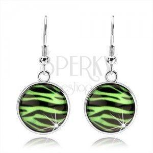 Cabochon kolczyki z wypukłym szkłem, zebra wzór w zielono-czarnej kombinacji obraz