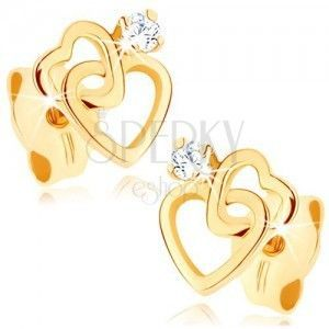 Kolczyki z żółtego 9K złota - dwa cienkie sercowe kontury, cyrkonia jasnego koloru obraz