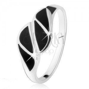 Srebrny pierścionek 925, trójkąty z czarnego onyksu, wysoki połysk obraz