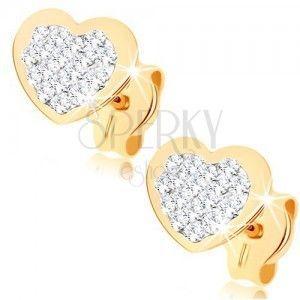 Kolczyki wkręty z żółtego złota 9K - serduszko wyłożone kryształami Swarovskiego obraz
