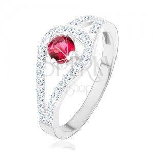 Srebrny pierścionek 925, rozdwojone błyszczące ramiona, różowa cyrkonia obraz