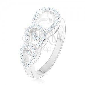 Zaręczynowy pierścionek ze srebra 925, trzy cyrkoniowe kontury kropelek obraz
