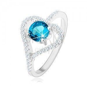 Zaręczynowy pierścionek ze srebra 925, cyrkoniowy zarys serca, niebieska cyrkonia obraz