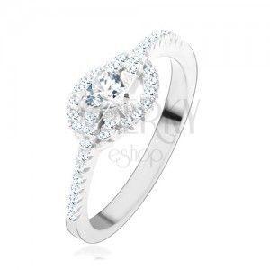 Zaręczynowy pierścionek ze srebra 925, przezroczyste cyrkoniowe serce, zakrzywione linie obraz