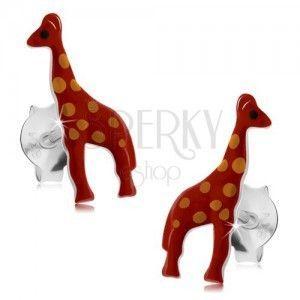 Srebrne kolczyki 925, lśniąca czerwona żyrafa z pomarańczowymi kropkami, emalia obraz