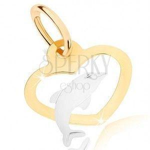 Dwukolorowy wisiorek w 9K złocie - zarys symetrycznego serca, delfinek obraz