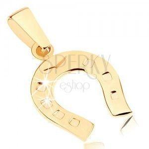 Złoty wisiorek 375 - błyszcząca podkowa na szczęście, grawerowane kropki obraz
