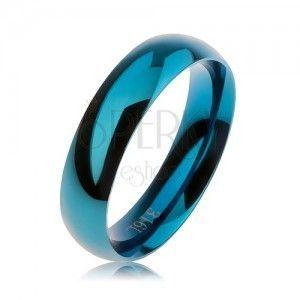 Niebieska stalowa obrączka, gładka zaokrąglona powierzchnia, wysoki połysk, 5 mm obraz