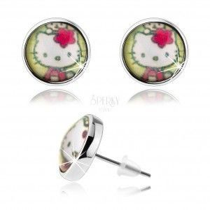 Kolczyki wkręty w stylu cabochon, wypukłe szkło, Hello Kitty, zielone tło obraz