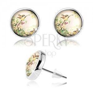 Kolczyki cabochon z przezroczystą wypukłą emalią, dwa małe ptaszki, kwiaty obraz