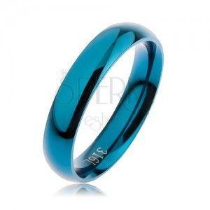 Pierścionek ze stali 316L w niebieskim kolorze, gładka zaokrąglona powierzchnia bez wzoru, 4 mm obraz