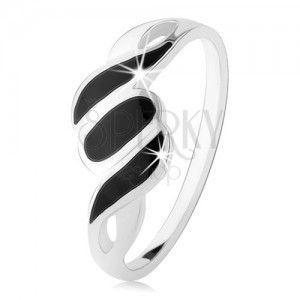 Srebrny pierścionek 925, gładkie ramiona, ukośne pasy i owal, czarny onyks obraz