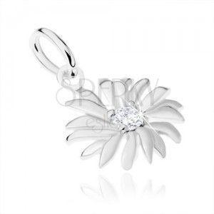 Srebrny 925 wisiorek, kwiatek, mała przezroczysta cyrkonia w środku obraz