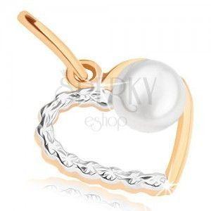 Dwukolorowy wisiorek ze złota 9K - cienki zarys symetrycznego serduszka, perełka obraz
