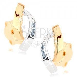 Złote kolczyki 375 - dwa błyszczące łuki w złotym i srebrnym kolorze, cyrkonie obraz