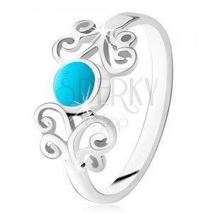 Srebrny pierścionek 925, okrągły turkus, błyszczące ozdoby, wąskie ramiona obraz