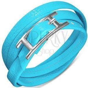 Potrójna bransoletka ze skóry syntetycznej niebieskiego koloru, zapięcie z klamrą obraz