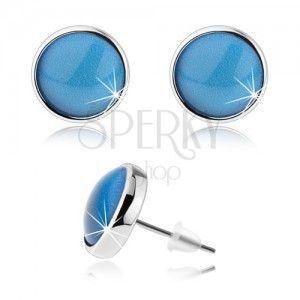 Kolczyki w stylu cabochon, wypukłe szkło, niebieski kolor, sztyfty obraz
