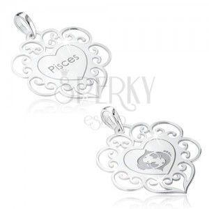 Wisiorek ze srebra 925, znak zodiaku RYBY, serce z ozdobami obraz