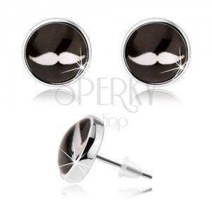 Kolczyki cabochon, sztyfty, przejrzyste szkło, białe wąśy na czarnym tle obraz