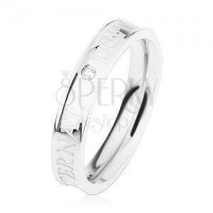 Stalowy pierścionek srebrnego koloru, wydrążony środek, przezroczysta cyrkonia, ETERNAL LOVE obraz