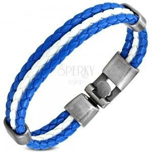 Niebiesko biała bransoletka ze sztucznej skóry, trzy paski z wzorem warkocza, ruchome owale obraz