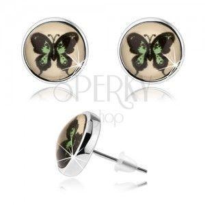 Okrągłe kolczyki cabochon, wypukłe szkło, zielono-czarny motyl, wkręty obraz