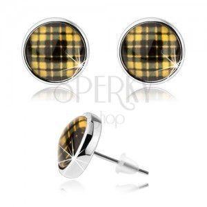 Okrągłe kolczyki srebrnego koloru, żółto-czarny kraciasty wzór, cabochon obraz