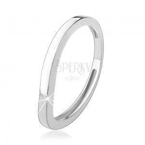 Srebrny pierścionek 925, falisty pas, lśniąca gładka powierzchnia obraz