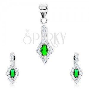 Zestaw ze srebra 925, wisiorek i kolczyki, zielony owal, rombowa przejrzysta oprawa obraz