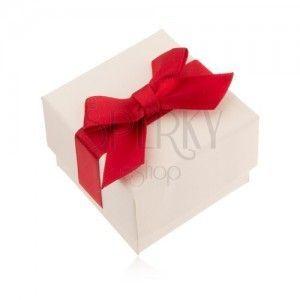 Kremowe upominkowe pudełeczko na pierścionek, wisiorek, kolczyki, czerwona kokarda obraz