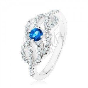 Srebrny 925 pierścionek, niebieska cyrkonia, splecione faliste linie obraz