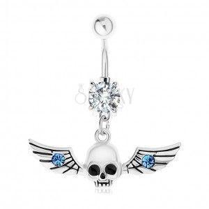 Piercing do brzucha, stal 316L, czaszka ze skrzydłami, niebieskie cyrkonie obraz