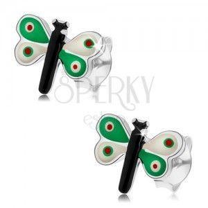 Srebrne kolczyki 925, motylek z kolorową emalią, zielono-białe skrzydła obraz